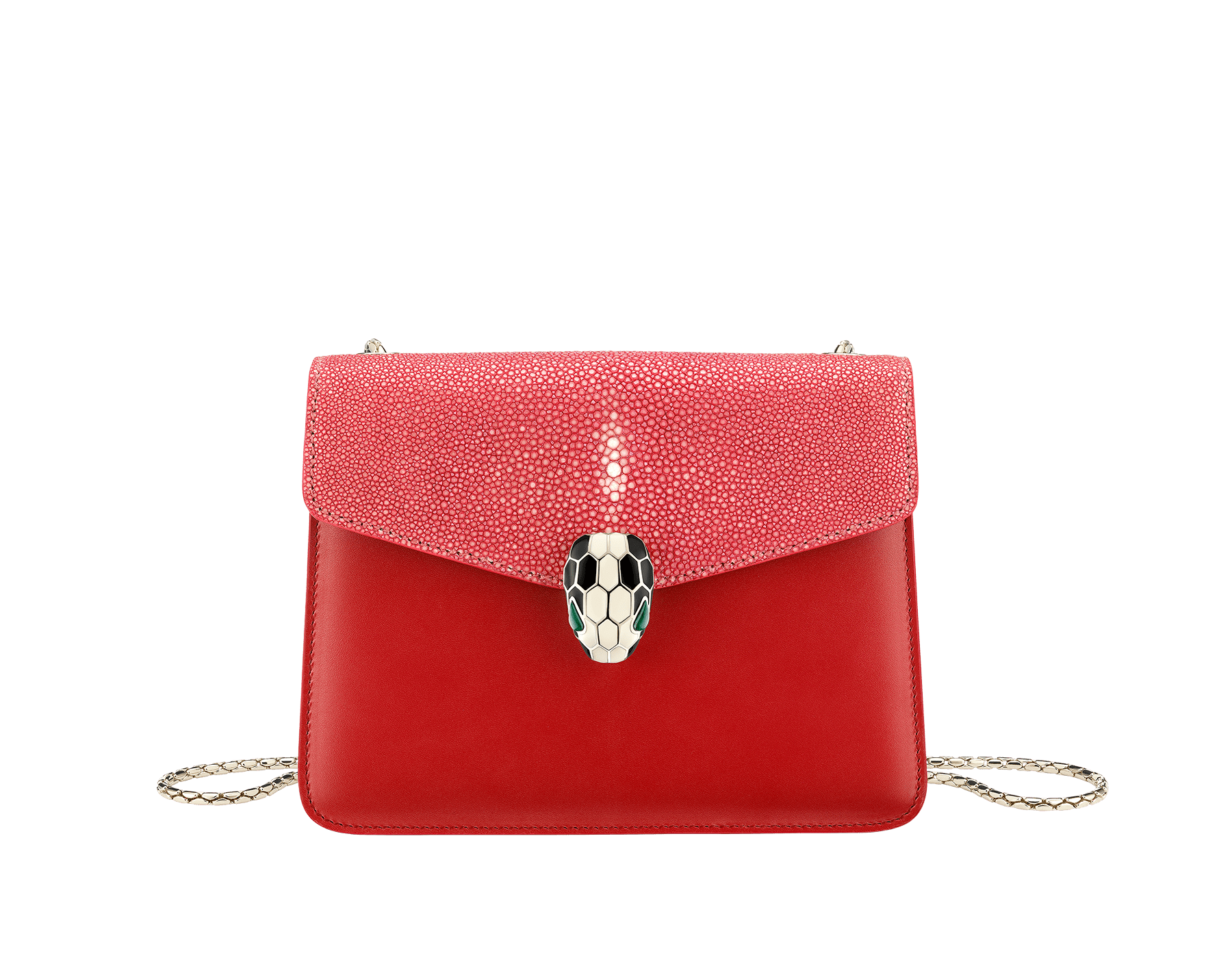 """Serpenti Forever "" crossbody bag in carmine jasper galuchat skin and calf leather. Iconic snakehead closure in light gold plated brass enriched with black and white enamel and green malachite eyes 287053 image 1"