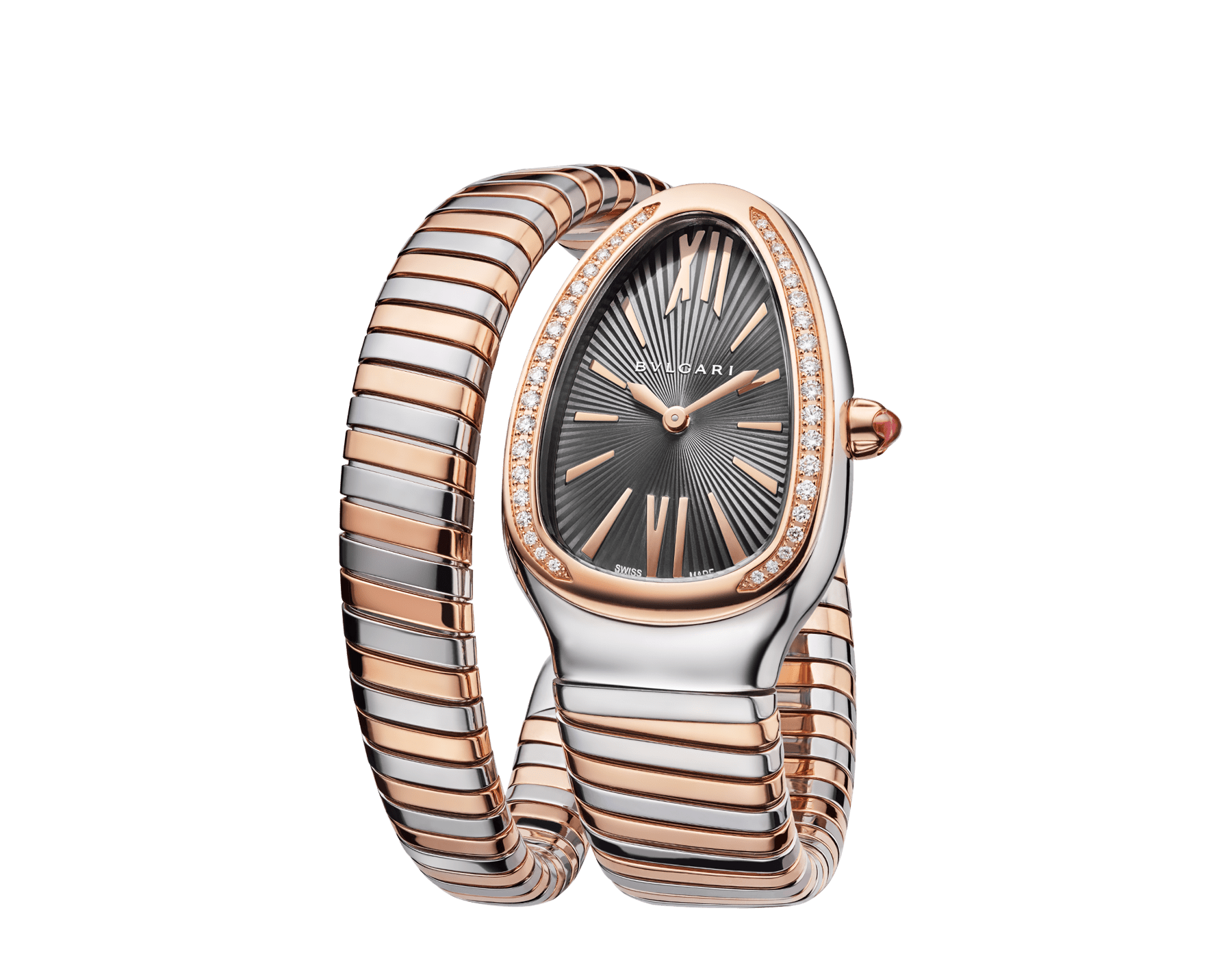 Serpenti Tubogas Uhr mit einfach geschwungenem Armband, Gehäuse aus Edelstahl, Lünette aus 18 Karat Roségold mit Diamanten im Brillantschliff, grau lackiertem Zifferblatt und Armband aus 18 Karat Roségold und Edelstahl. 102681 image 2