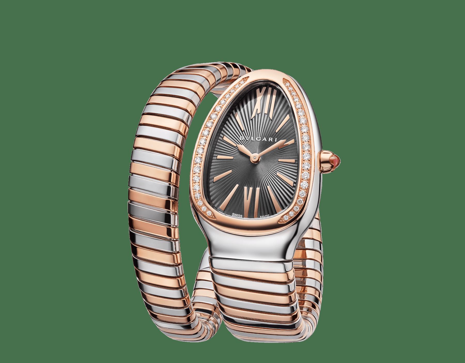 Serpenti Tubogas 單圈螺旋腕錶,精鋼錶殼,18K 玫瑰金錶圈鑲飾明亮型切割鑽石,灰色漆面錶盤,18K 玫瑰金和精鋼錶帶。 102681 image 2
