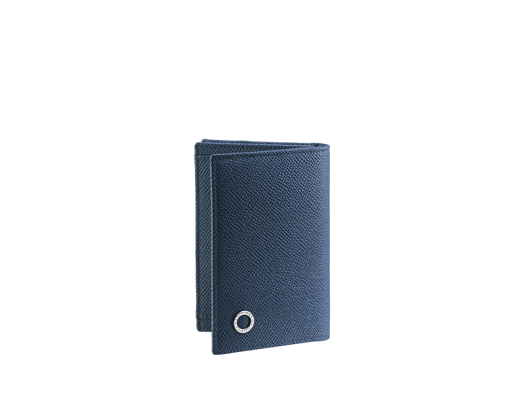 Business card holder in denim sapphire grain calf leather with brass palladium plated Bulgari Bulgari motif. Three credit card slots, one open pocket and business cards compartment. BBM-BC-HOLD-SIMPLEa image 1
