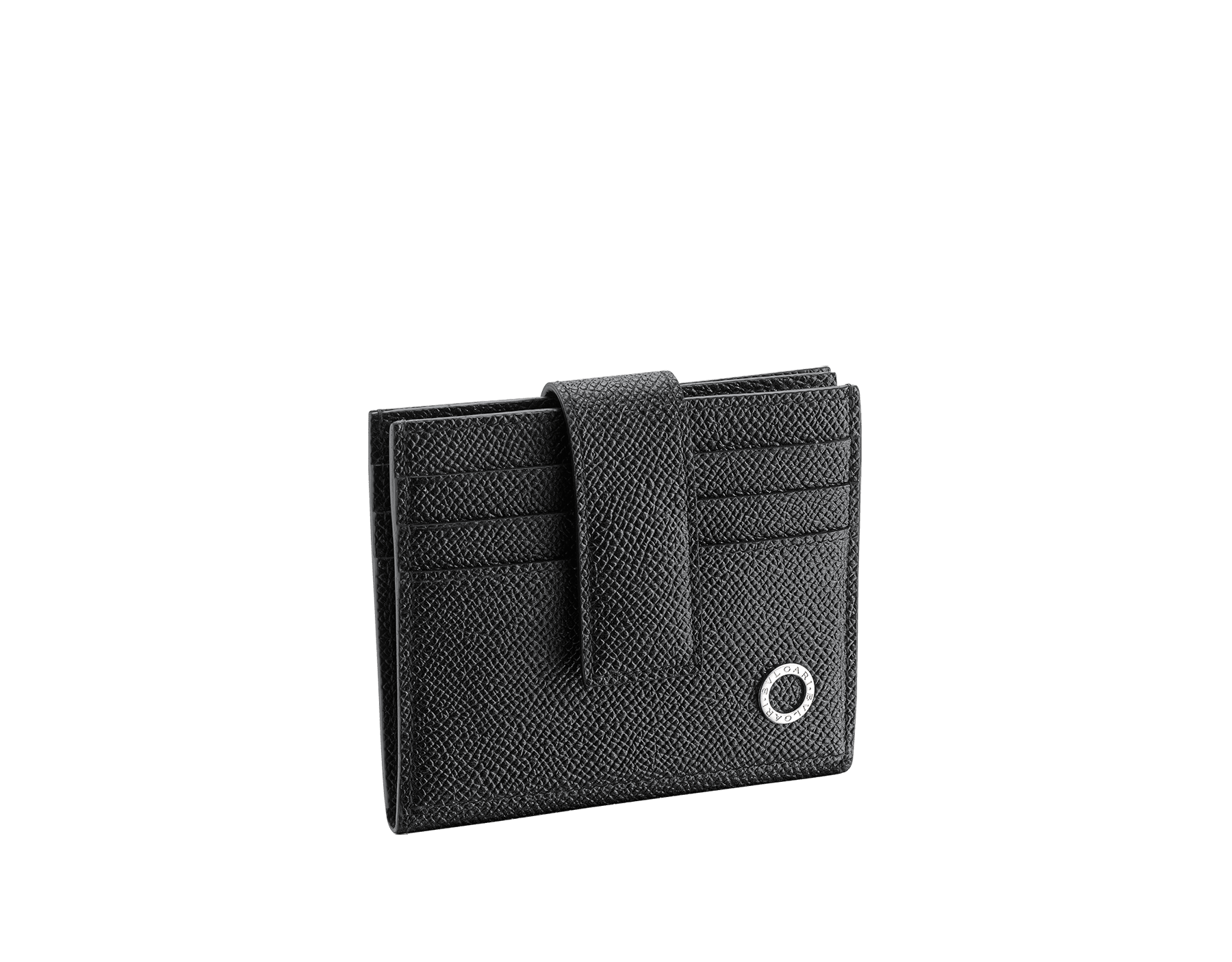 BVLGARI BVLGARI folded credit card holder in black grain calf leather. Iconic logo décor in palladium plated brass. 289232 image 1