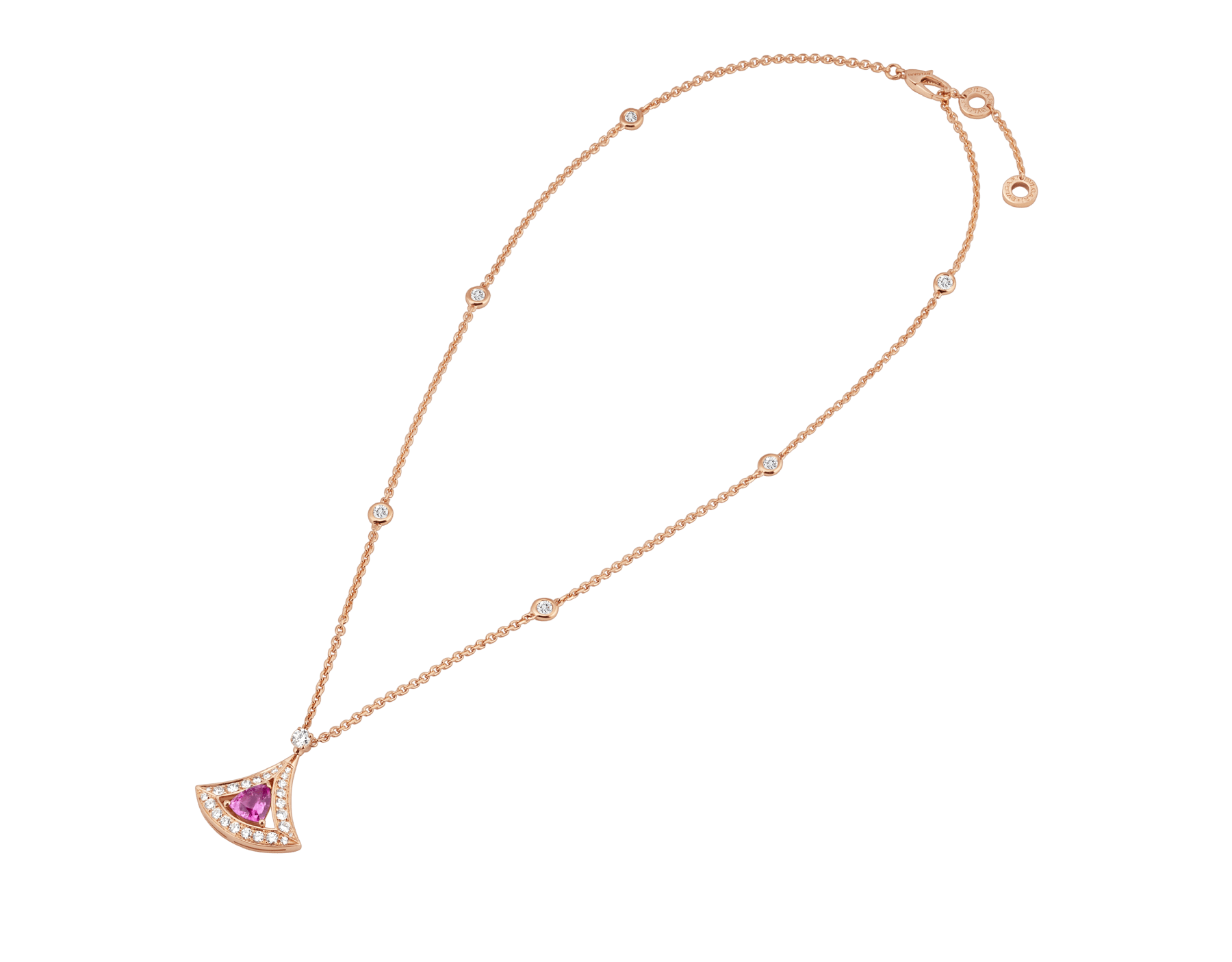 DIVAS' DREAM openwork necklace with 18 kt rose gold chain set with diamonds and 18 kt rose gold pendant with a pink tourmaline and set with pavé diamonds. 354366 image 2