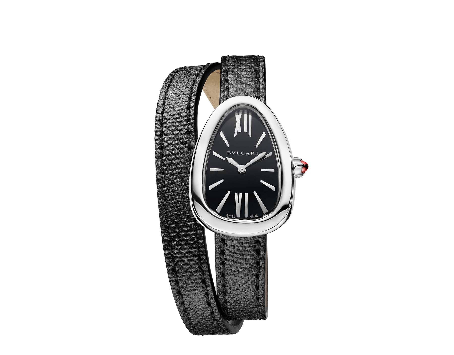 Serpenti watch with stainless steel case, black lacquered dial and interchangeable double spiral bracelet in black karung leather. 102782 image 1