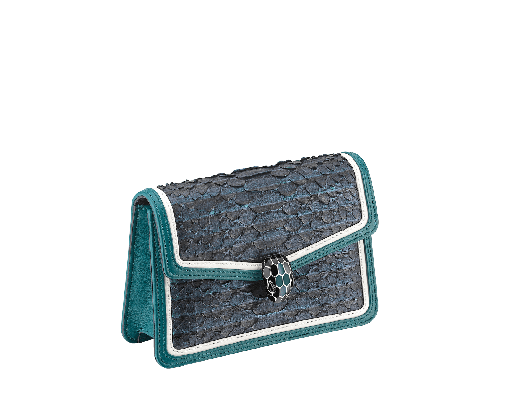 """Serpenti Diamond Blast"" crossbody micro bag in deep jade Plissé python skin body and deep jade and white calf leather frames. Iconic snakehead closure in palladium plated brass enriched with deep jade and black enamel and black onyx eyes. 288119 image 2"