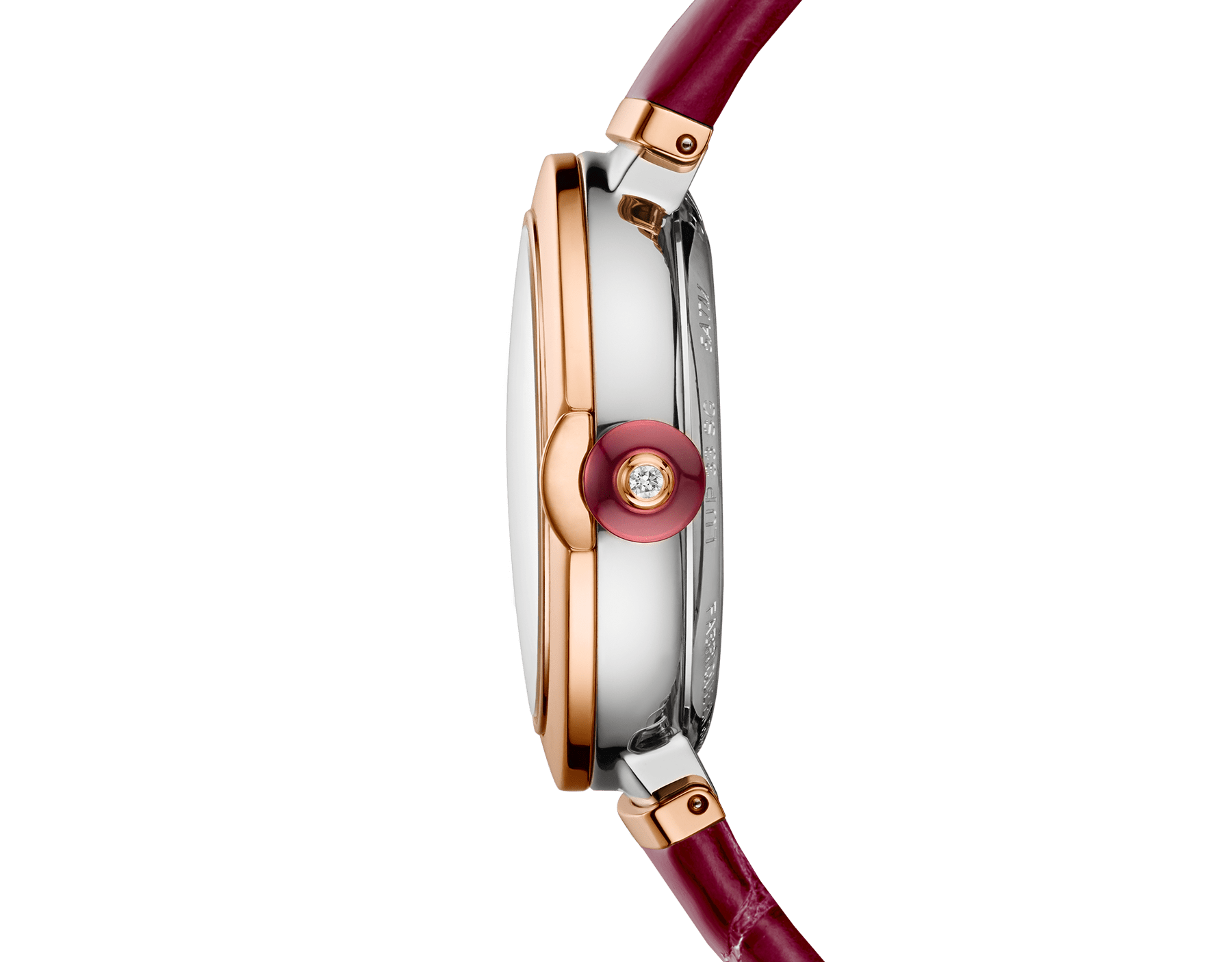 LVCEA watch with 18 kt rose gold and stainless steel case, white mother-of-pearl dial set with diamond indexes, date aperture and burgundy alligator bracelet. 102639 image 2