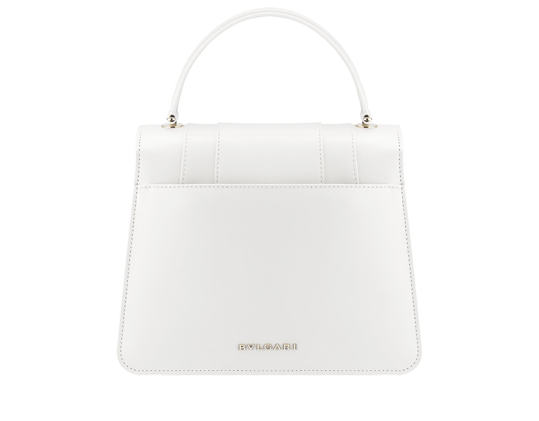 """Serpenti Forever "" top handle bag in white calf leather body and white agate and crystal rose calf leather sides. Iconic snake head closure in light gold plated brass enriched with white and crystal rose enamel and black onyx eyes. 289835 image 3"