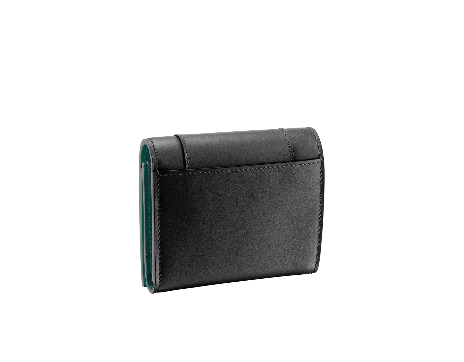 """Serpenti Forever"" super compact wallet in mint and taffy quartz calf leather. Iconic snakehead zip puller in black and white agate enamel, with emerald green enamel eyes. SEA-SUPERCOMPACT-CLb image 3"