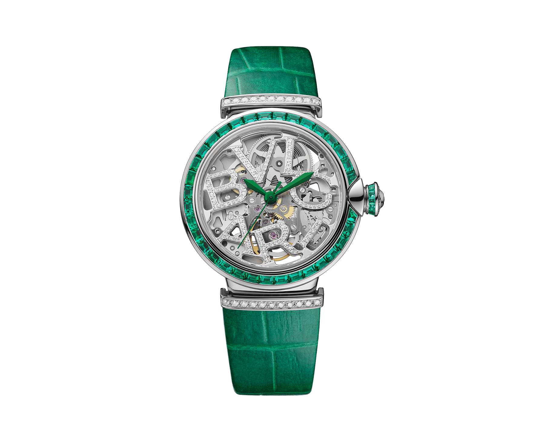 LVCEA Skeleton watch with mechanical movement, automatic winding, 18 kt white gold case set with baguette-cut emeralds, 18 kt white gold openwork BVLGARI logo dial set with brilliant-cut diamonds, green alligator bracelet and 18 kt white gold links set with brilliant-cut diamonds 103033 image 1