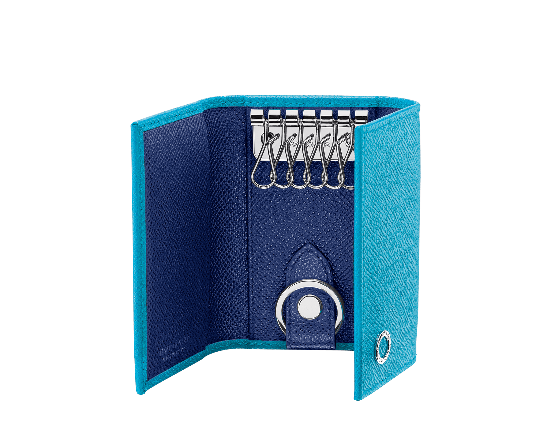 """BVLGARI BVLGARI"" double key holder in capri turquoise and royal sapphire grain calf leather. Detachable car key holder in palladium plated brass. BBM-DOUBLE-KEYHOLDb image 2"