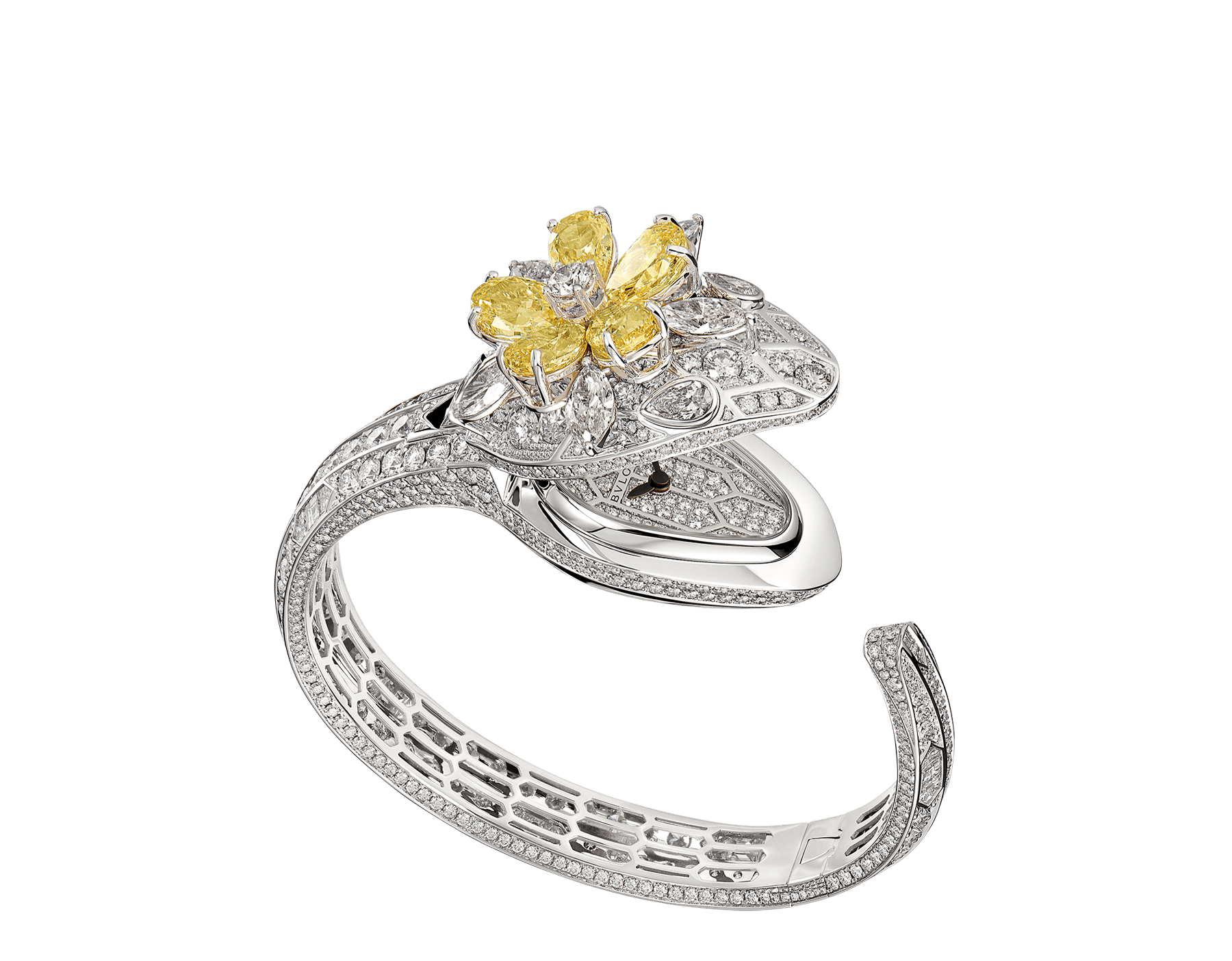 Serpenti Misteriosi Secret Watch with 18 kt white gold head set with brilliant-cut, baguette-cut and marquise-shaped diamonds, pear-shaped yellow diamonds and diamond eyes, 18 kt white gold case, dial and bracelet all set with brilliant-cut diamonds 103036 image 2