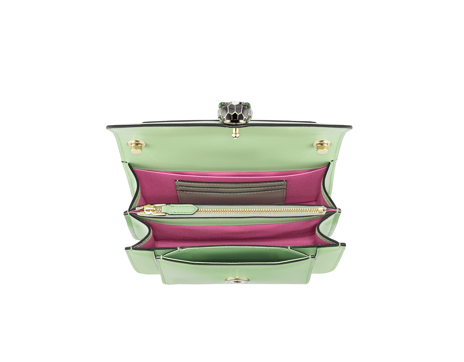 """Serpenti Forever"" crossbody bag in mint calf leather. Iconic snakehead closure in light gold plated brass enriched with black and white agate enamel and green malachite eyes. 1082-CLb image 4"