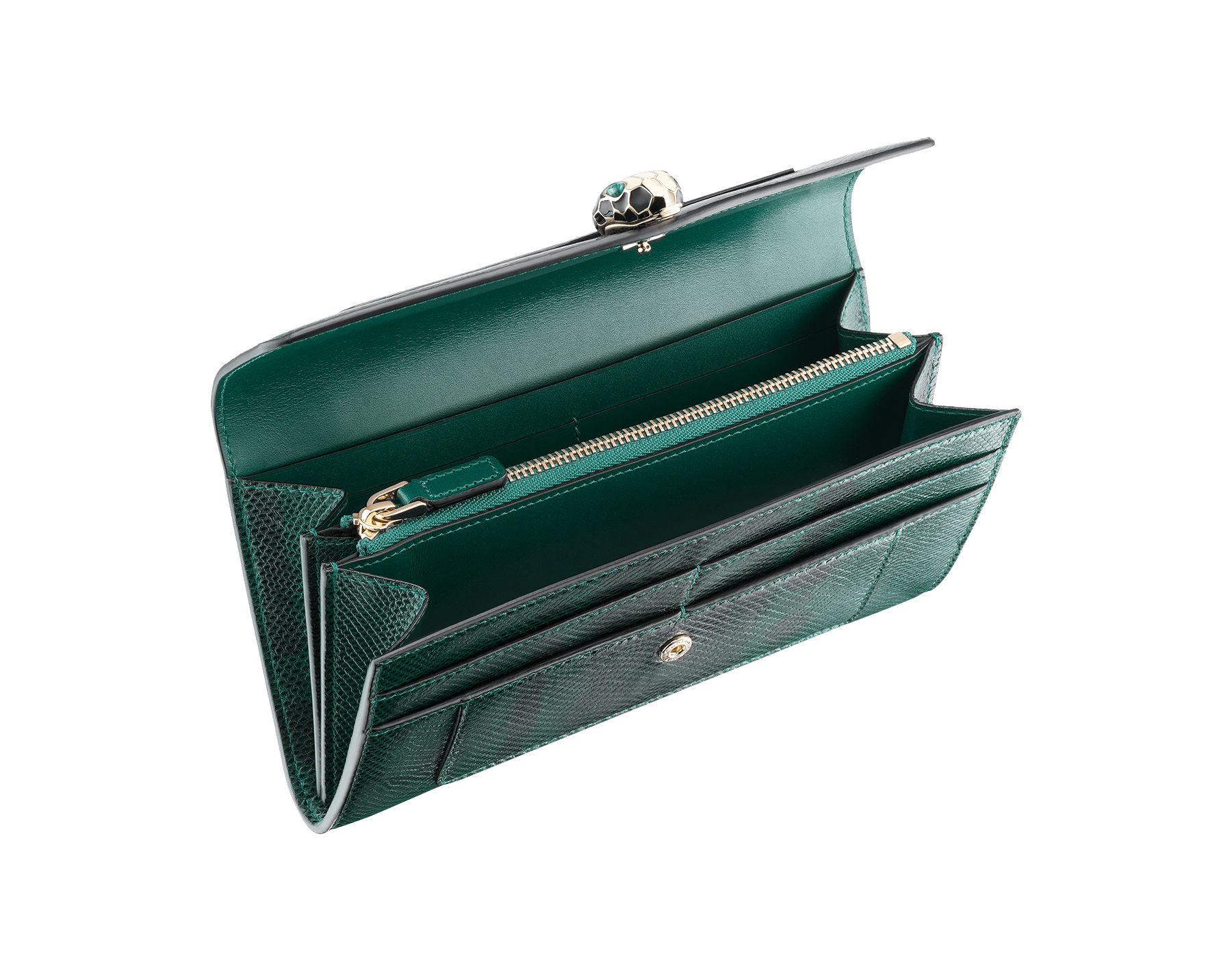 Wallet pochette in forest emerald shiny karung skin and forest emerald calf leather with tourquoise nappa lining. Brass light gold plated hardware. Serpenti head stud closure in black and white enamel with eyes in green malachite. 283820 image 2