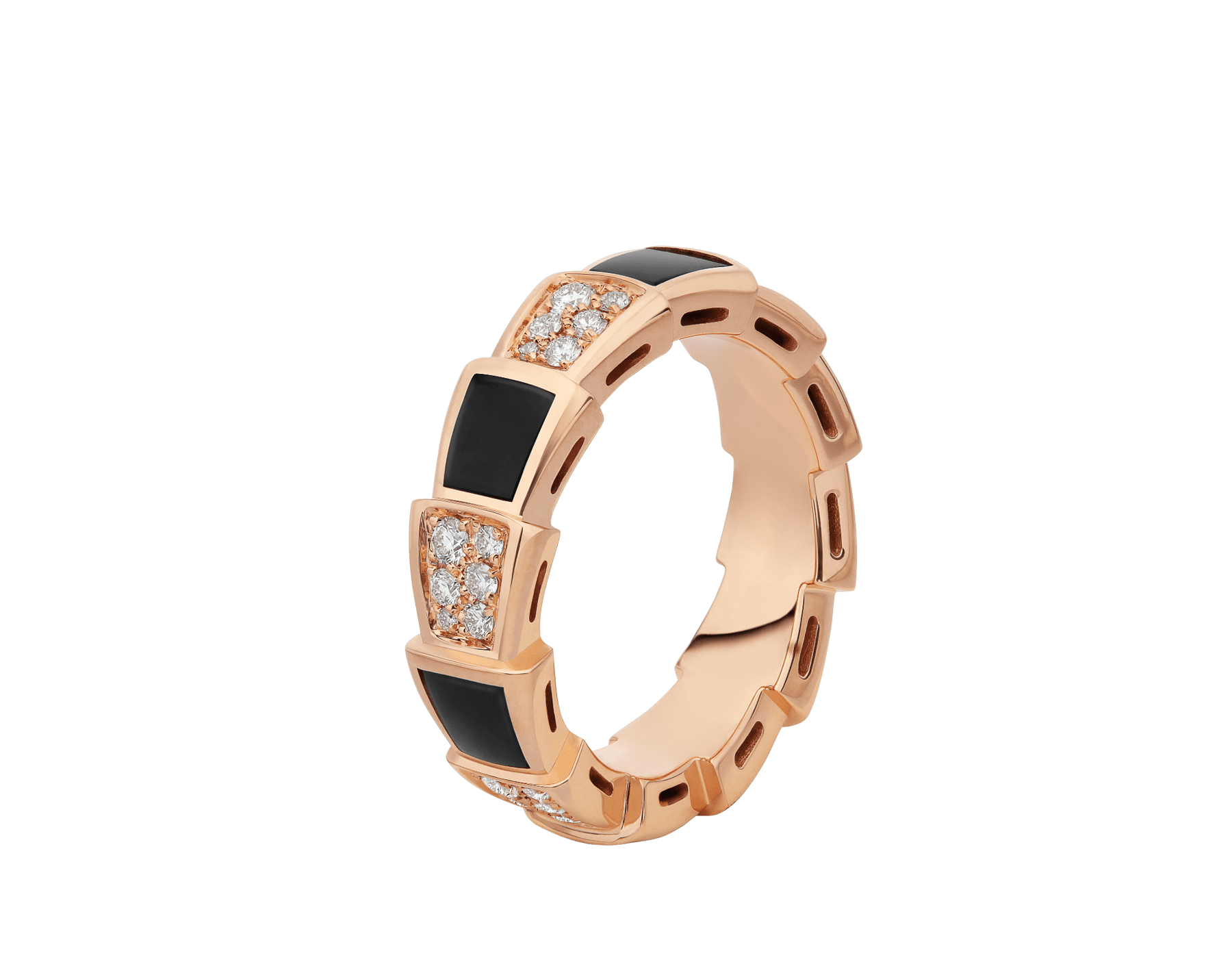Serpenti Viper 18 kt rose gold ring set with onyx elements and pavé diamonds (0.34 ct) AN858711 image 1