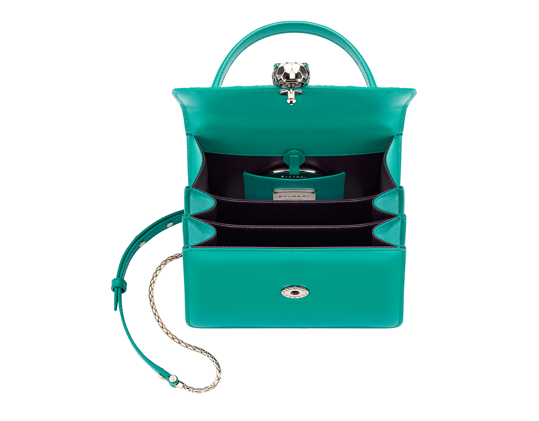 """Serpenti Forever"" crossbody bag in candy quartz galuchat skin and calf leather. Iconic snakehead closure in light gold plated brass enriched with black and white enamel and green malachite eyes 752-Gb image 4"