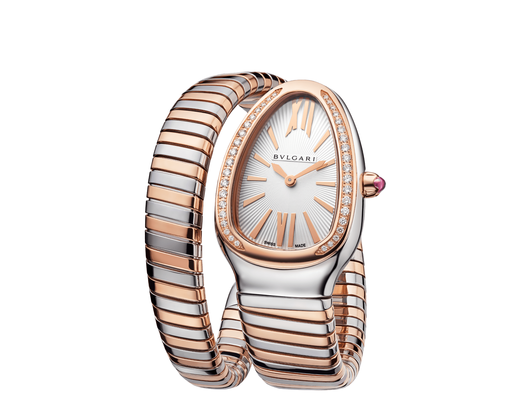 Serpenti Tubogas single spiral watch with stainless steel case, 18 kt rose gold bezel set with brilliant cut diamonds, silver opaline dial, 18 kt rose gold and stainless steel bracelet. 102237 image 2