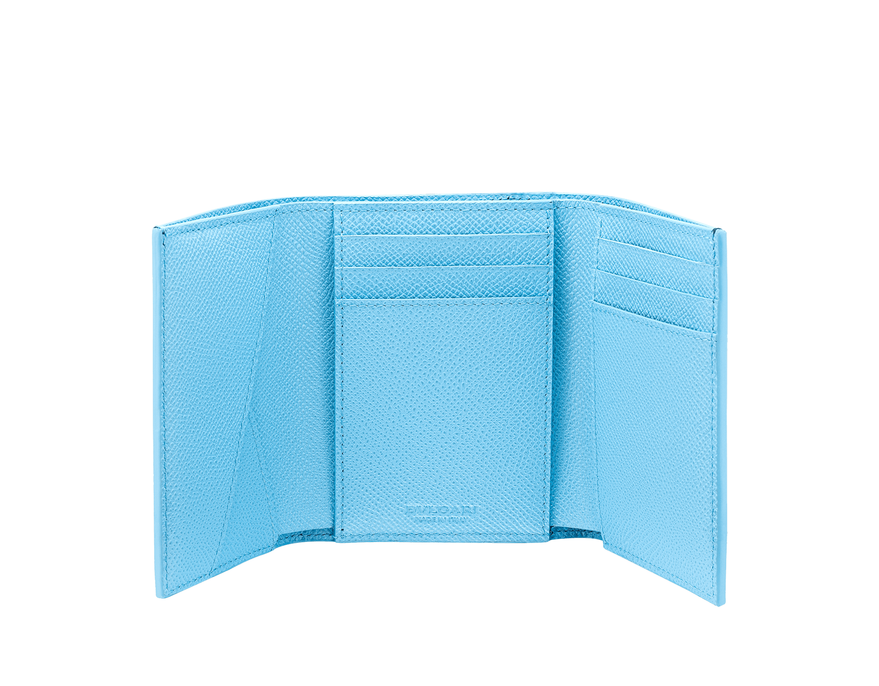 Portefeuille compact pour homme BVLGARI BVLGARI en cuir de veau grainé couleur bleu Denim Sapphire et couleur bleu clair Aegean Topaz. Fermoir emblématique orné du logo Bvlgari en laiton. BCM-YENCOMPACTZP image 2