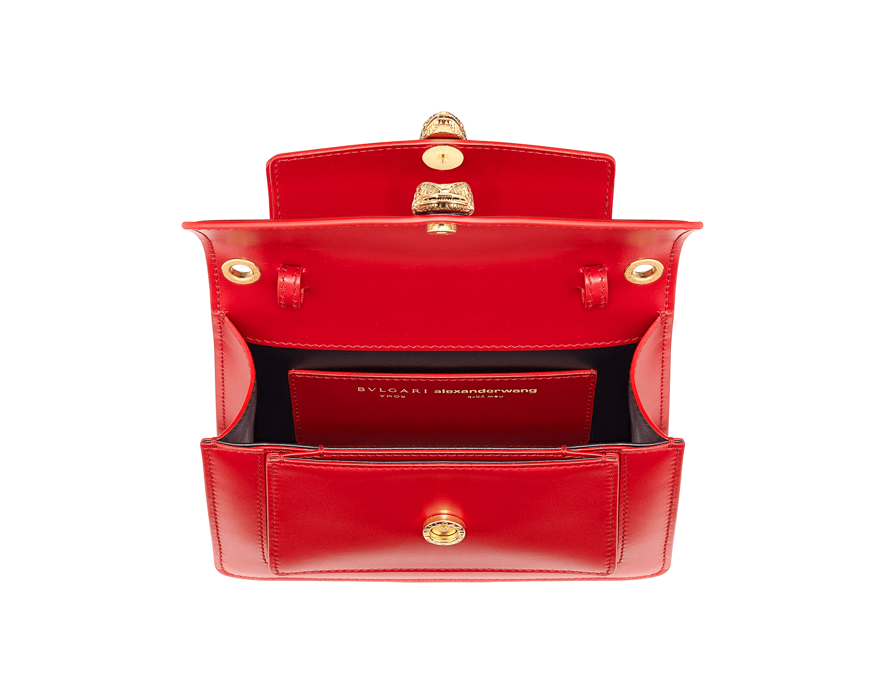 """Alexander Wang x Bvlgari"" belt bag in smooth peach calf leather. New double Serpenti head closure in antique gold-plated brass with tempting red enamel eyes. SFW-001-1029S image 2"