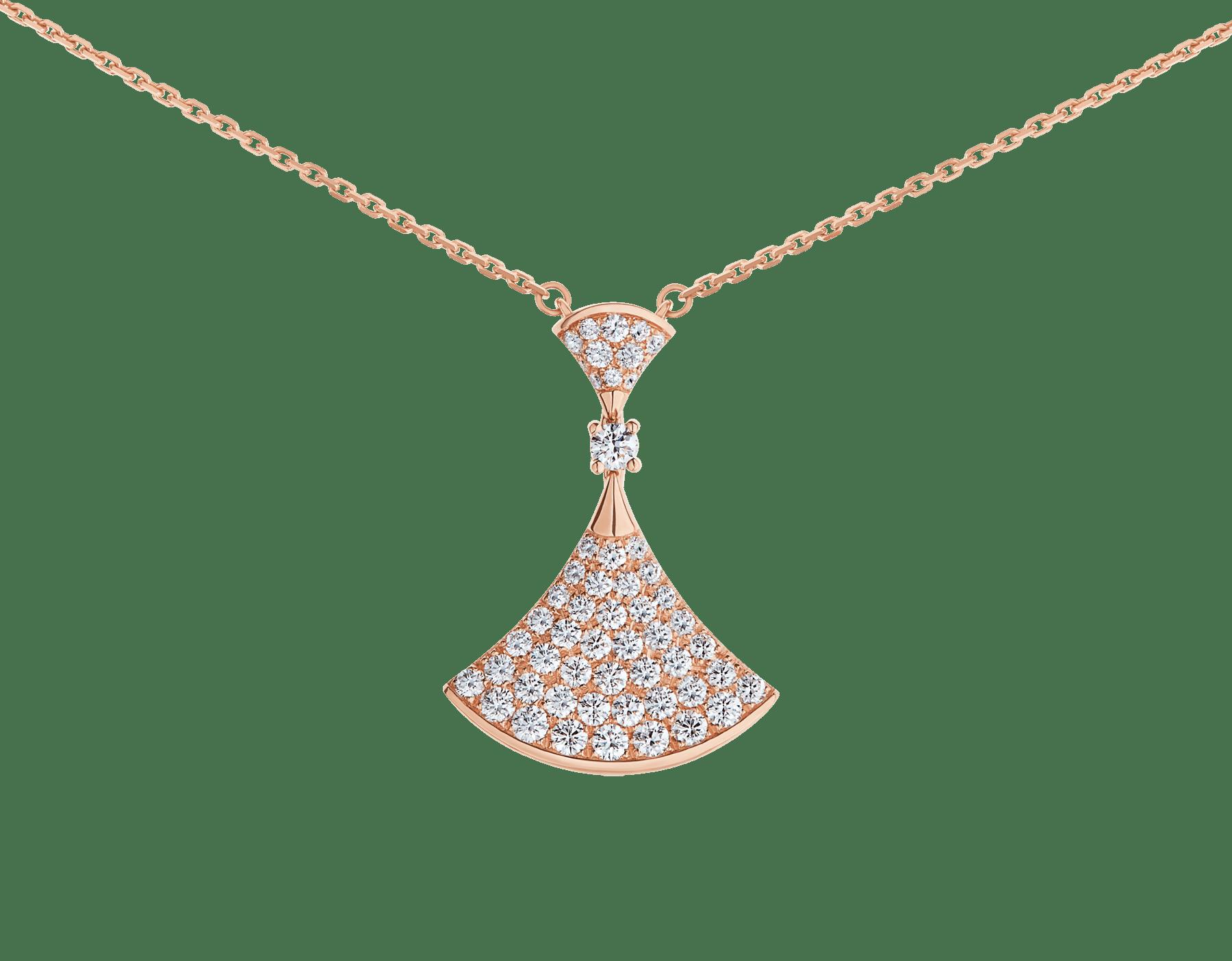 DIVAS' DREAM 18 kt rose gold pendant necklace set with a round brilliant-cut diamond (0.10 ct) and pavé diamonds (0.83 ct) 358121 image 3