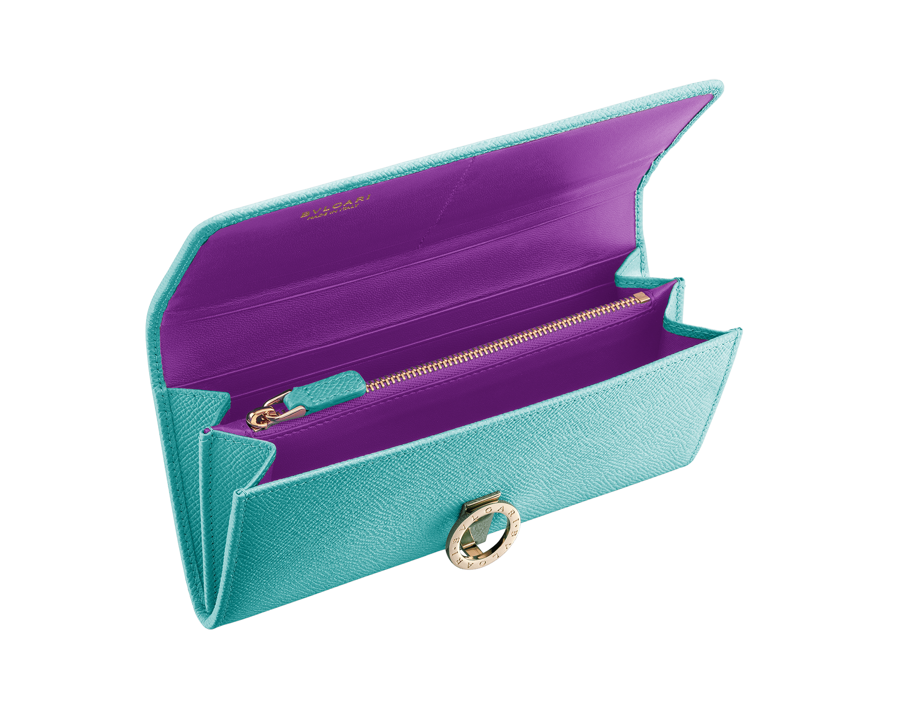 BVLGARI BVLGARI wallet pochette in arctic jade grain calf leather and grape amethyst nappa leather. Iconic logo closure clip in light gold plated brass. 289052 image 2