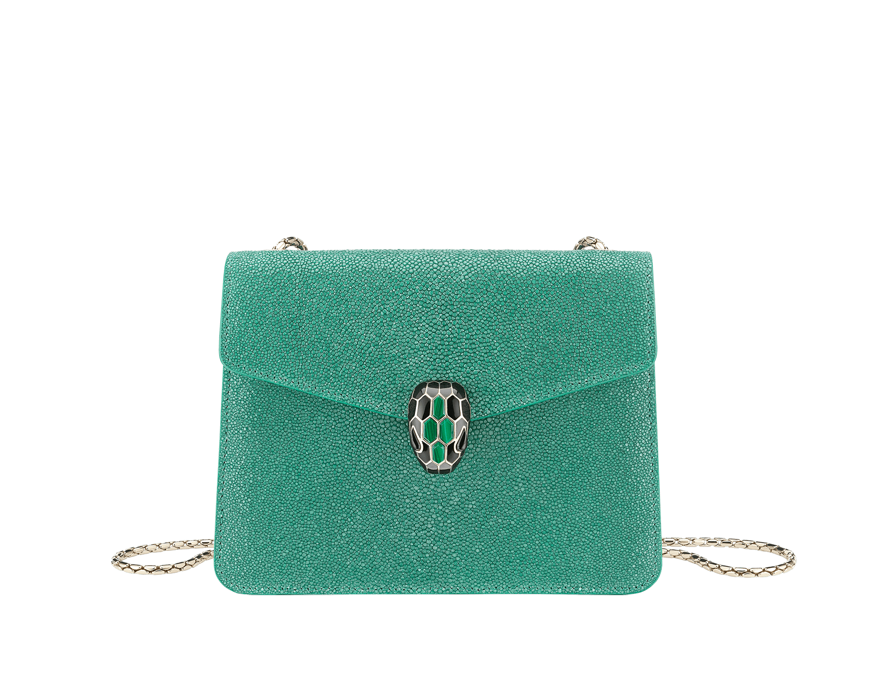 """Serpenti Forever"" crossbody bag in emerald green galuchat skin. Iconic snake head closure in light gold plated brass enriched with black enamel, malachite scales and black onyx eyes. 289021 image 1"