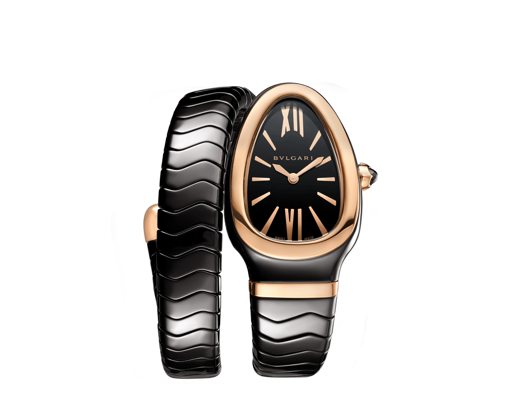 Serpenti Spiga single spiral watch with black ceramic case, 18 kt rose gold bezel, black lacquered dial and black ceramic bracelet set with 18 kt rose gold elements. 102735 image 1