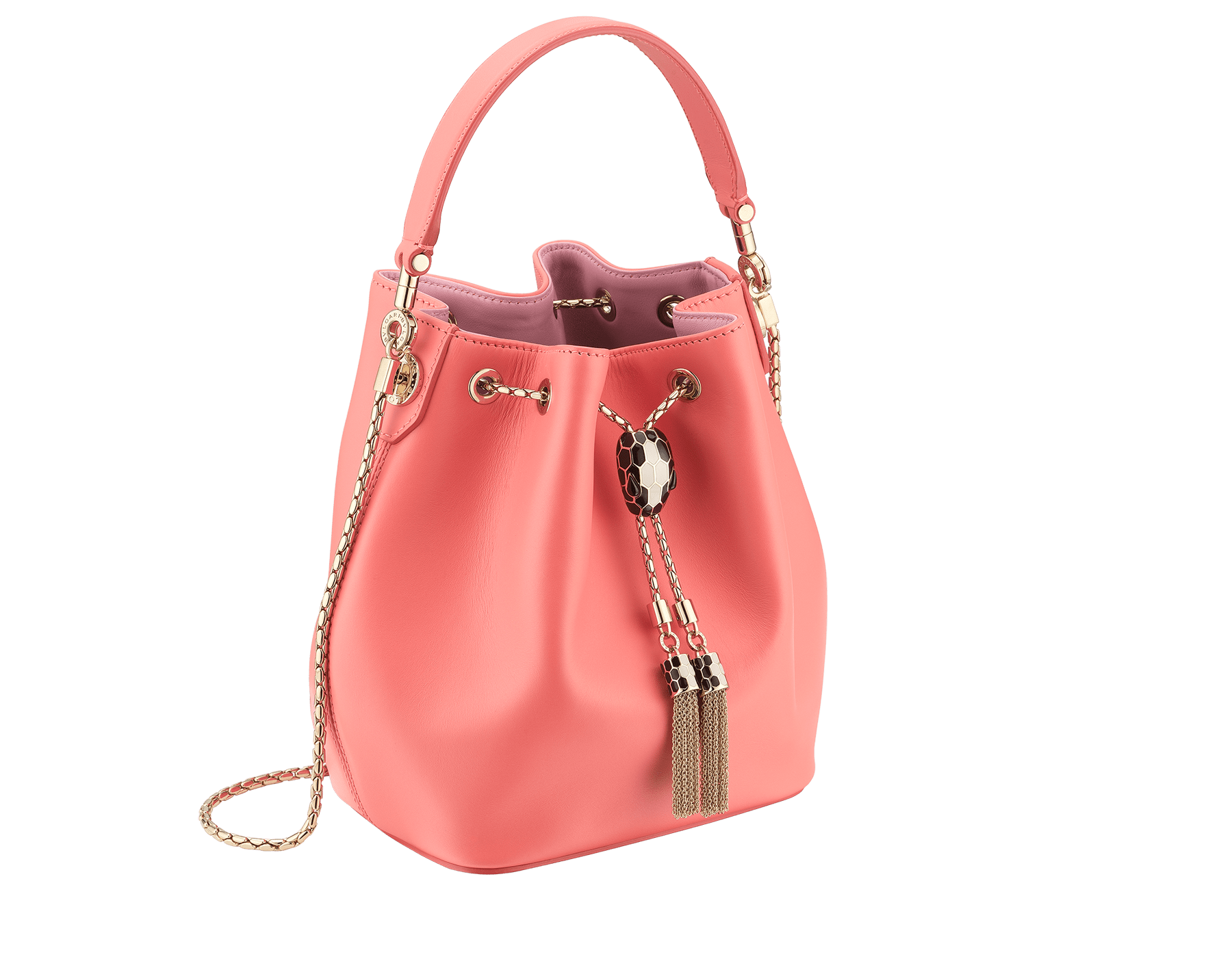 Serpenti Forever bucket in silky coral smooth calf leather and a flamingo quartz inner lining. Hardware in light gold plated brass and snakehead closure in black and white agate enamel, with eyes in black onyx. 288770 image 2
