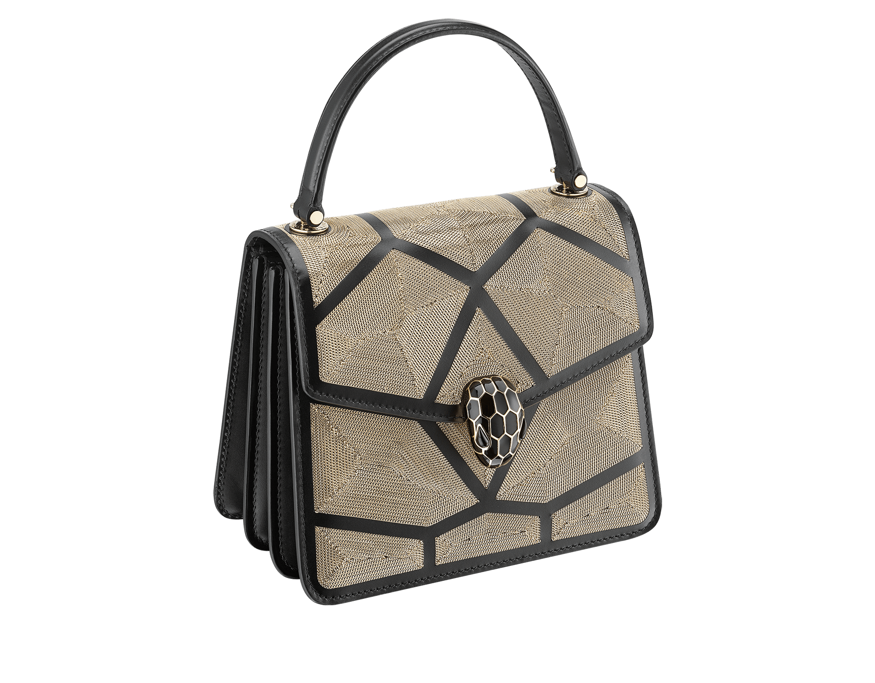 """Serpenti Forever"" crossbody bag in black calf leather and Million Chain motif body and black calf leather sides. Iconic snake head closure in light gold-plated brass enriched with black enamel and black onyx eyes. 752-CP image 2"