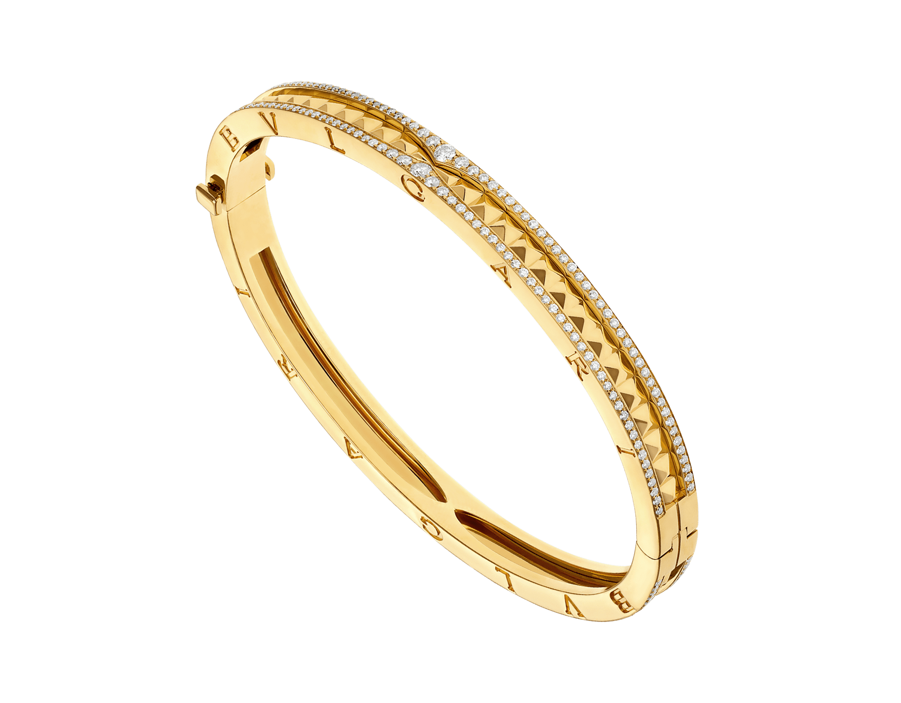Bracelet B.zero1 Rock en or jaune 18K avec spirale cloutée et pavé diamant sur les bords. BR859028 image 1