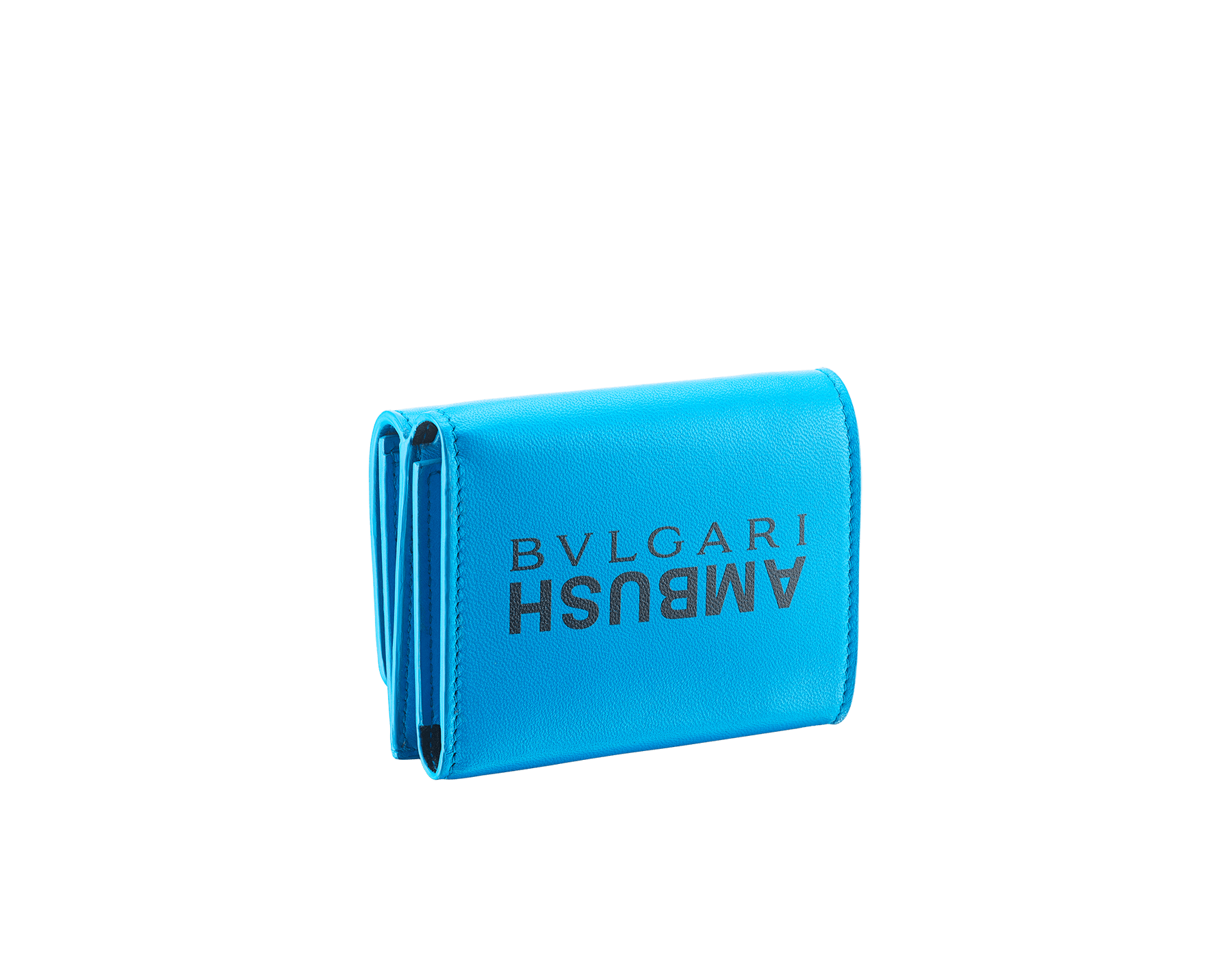 """Ambush x Bvlgari"" mini compact wallet in bright blue nappa leather. Palladium plated brass ""BVLGARI AMBUSH"" décor enameled in black on one side and special ""BVLGARI AMBUSH"" logo print on the other. Limited edition. YA-MINICOMPACT image 3"