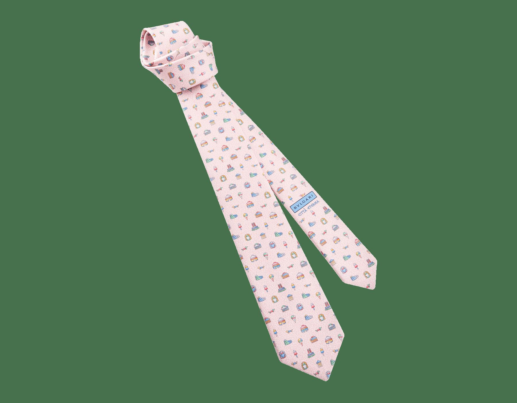 """Pink """"Città Eterna"""" seven-folds tie in fine saglione printed silk. 244354 image 1"""