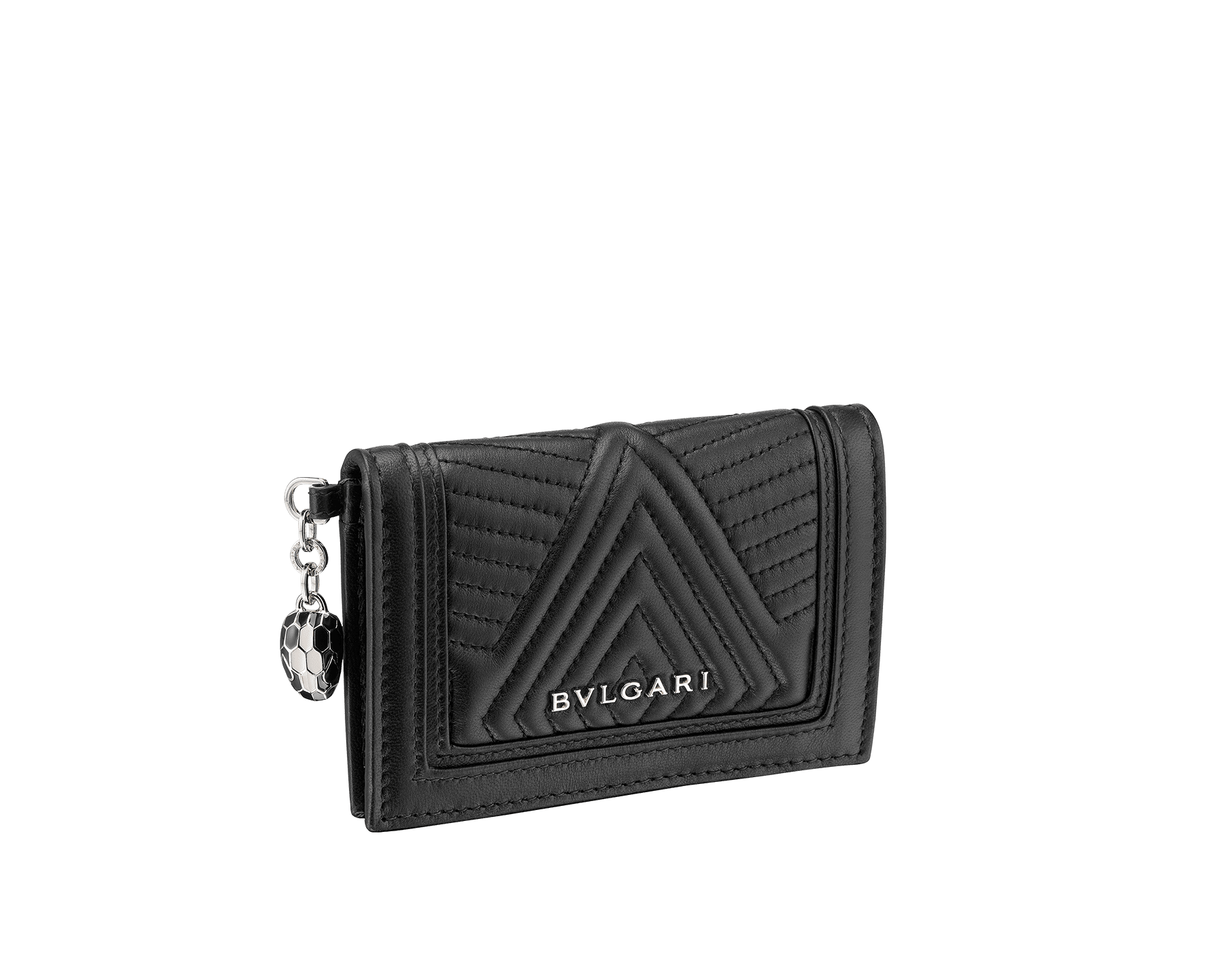 Serpenti Diamond Blast folded credit card holder in black quilted nappa leather. Iconic snakehead charm in black and white enamel, with black enamel eyes. 287578 image 1