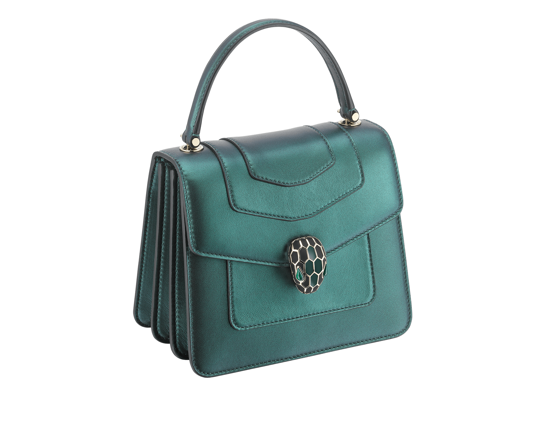 """Serpenti Forever "" crossbody bag in pearled emerald nappa leather. Iconic snakehead closure in light gold plated brass enriched with black and forest emerald enamel and green malachite eyes. Special Edition. 289837 image 2"