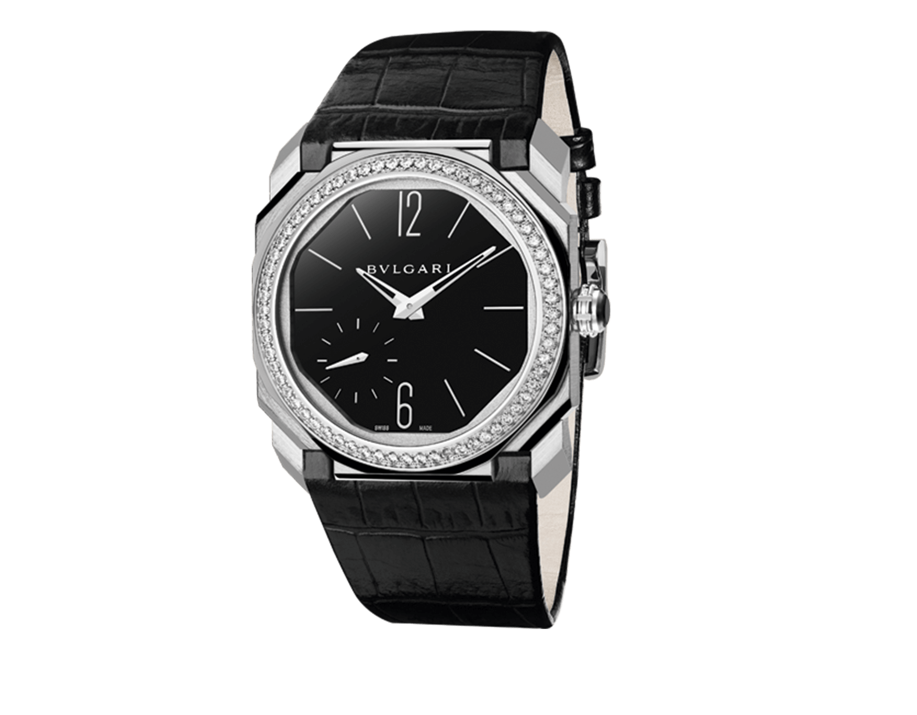 Octo Finissimo watch with extra thin mechanical manufacture movement, manual winding, small seconds and back-side power reserve. Platinum case, bezel set with brilliant-cut diamonds, black lacquered dial and black alligator bracelet. 102373 image 1