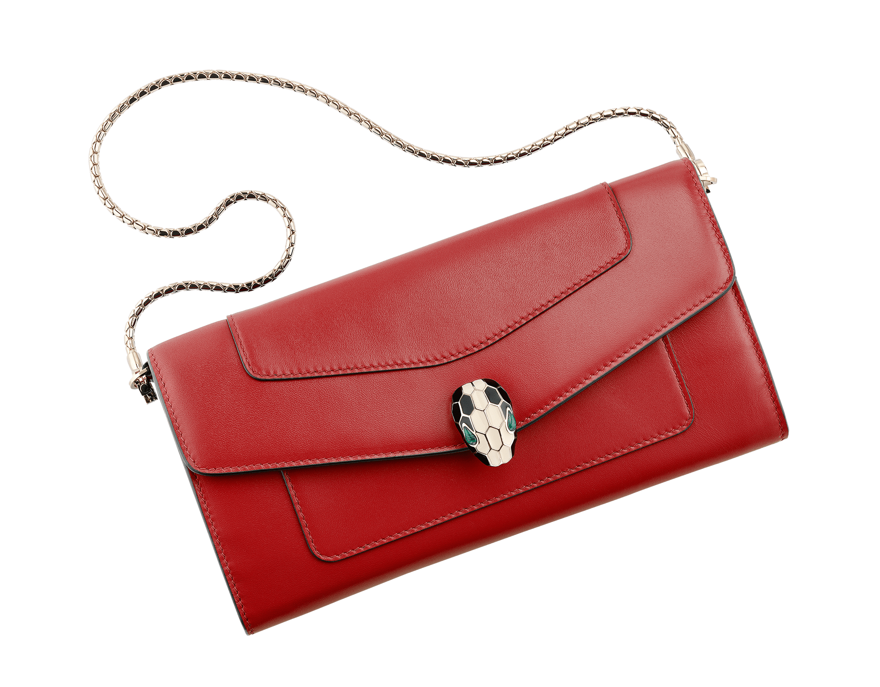 Wallet pouch in ruby red and desert quartz calf leather, with fuxia nappa lining. Brass light gold plated Serpenti head stud closure in black and white enamel with malachite eyes. 281315 image 1
