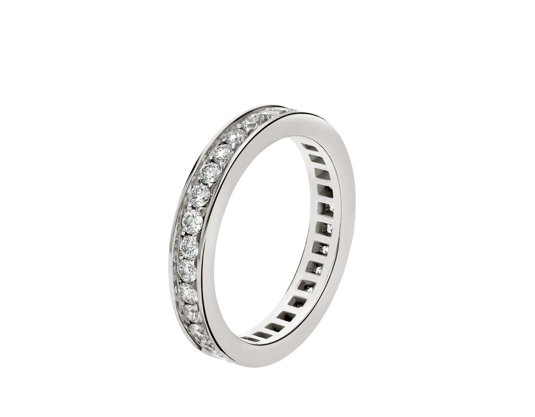 MarryMe platinum wedding band with full pavé diamonds AN852592 image 1