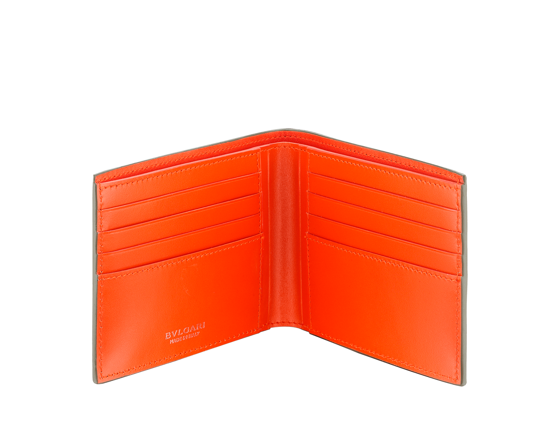 """BVLGARI BVLGARI"" hipster compact wallet in mimetic jade soft full grain calf leather and fire amber calf leather. Iconic logo decoration in palladium plated brass coloured in fire amber enamel. 290077 image 2"