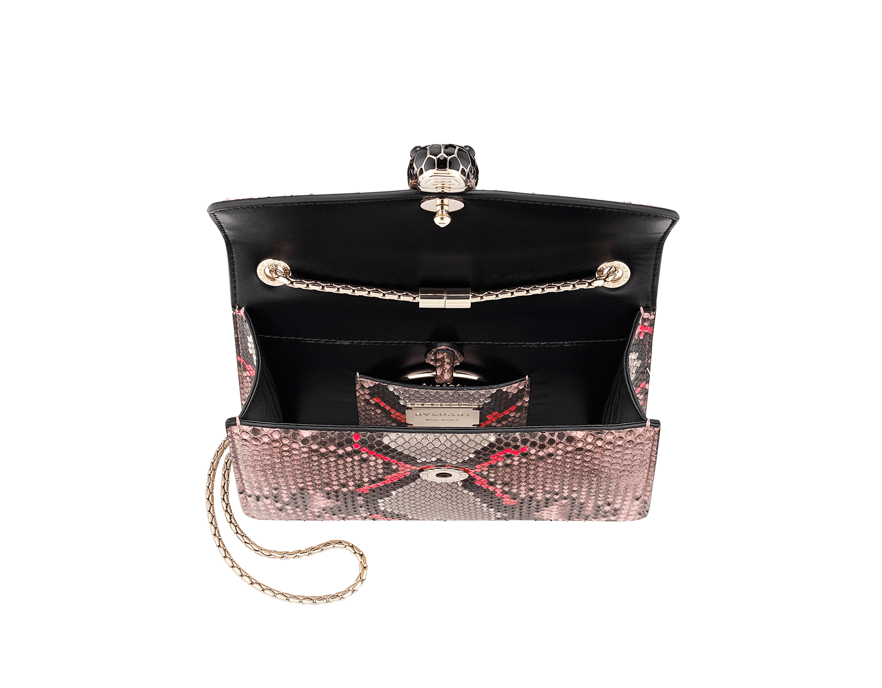 """Serpenti Forever"" crossbody bag in silky coral and flash amethyst Neon python skin. Iconic snake head closure in light gold plated brass enriched with black and flash amethyst enamel and black onyx eyes. 288953 image 5"