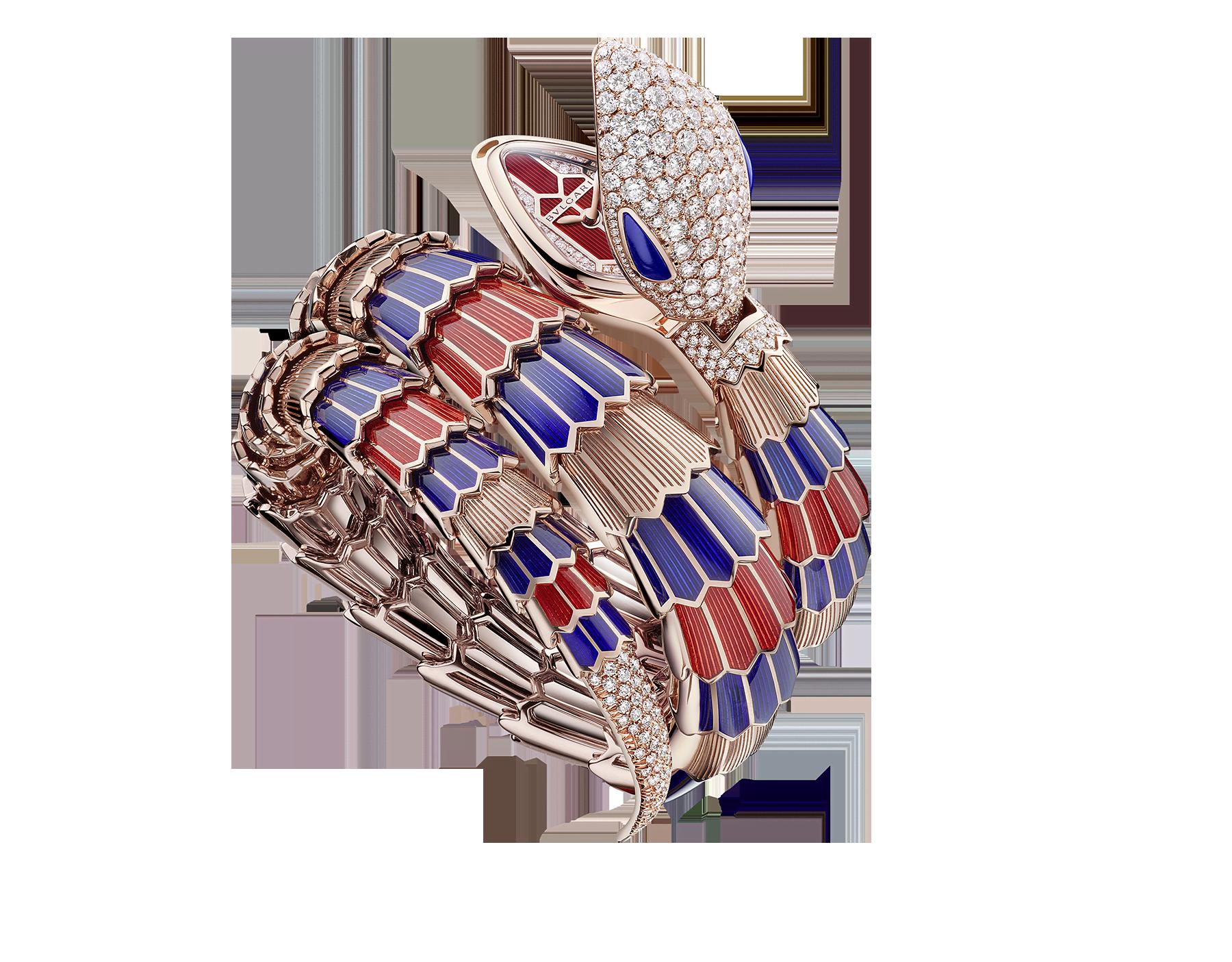 Serpenti Secret Watch 腕錶,18K 玫瑰金蛇頭飾以密鑲鑽石,蛇眼鑲飾青金石,18K 玫瑰金錶殼,18K 玫瑰金錶盤鑲飾明亮型切割鑽石,18K 玫瑰金雙圈螺旋錶帶飾以藍色和紅色漆面並飾以密鑲鑽石。 102445 image 1