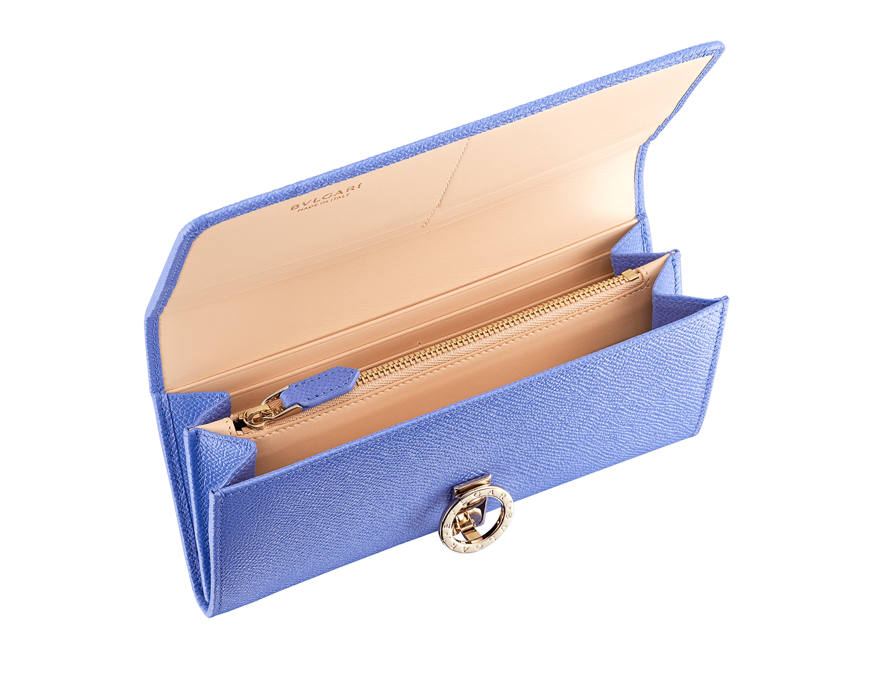 """""""BVLGARI BVLGARI"""" large wallet in Lavender Amethyst bright lilac grained calf leather and peach nappa leather. Iconic logo clip closure in light gold-plated brass. 579-WLT-SLI-POC-CLd image 2"""