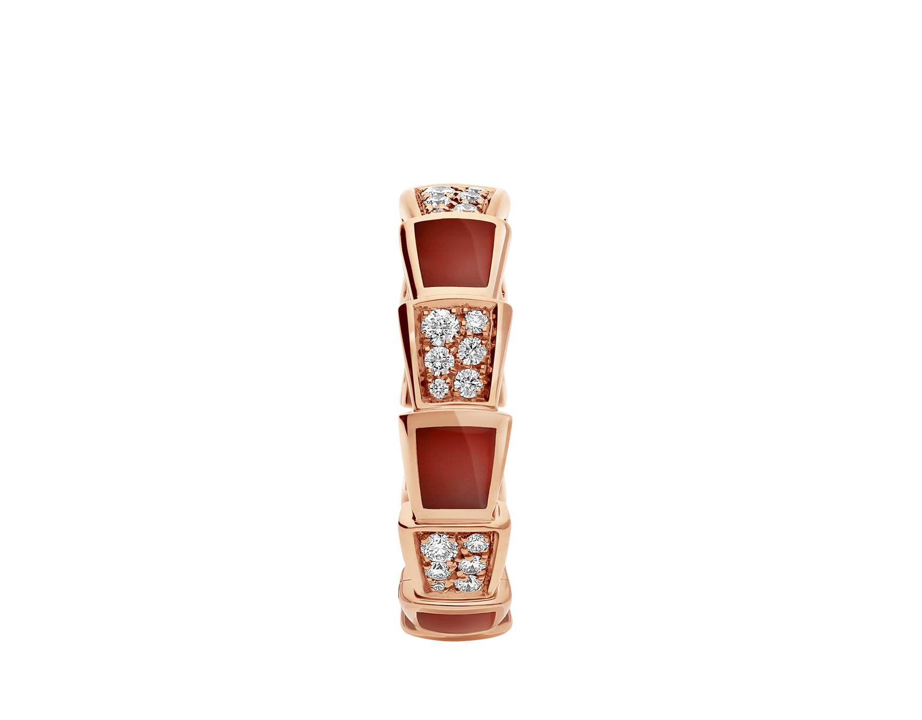 Serpenti Viper band ring in 18 kt rose gold, set with carnelian elements and pavé diamonds. AN857927 image 2