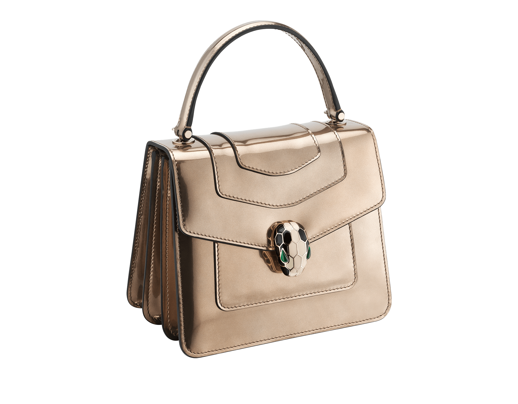 Flap cover bag Serpenti Forever in antique bronze brushed metallic calf leather. Brass light gold plated hardware and snake head closure in black and white enamel with eyes in green malachite. Test-Borse-Colore image 2