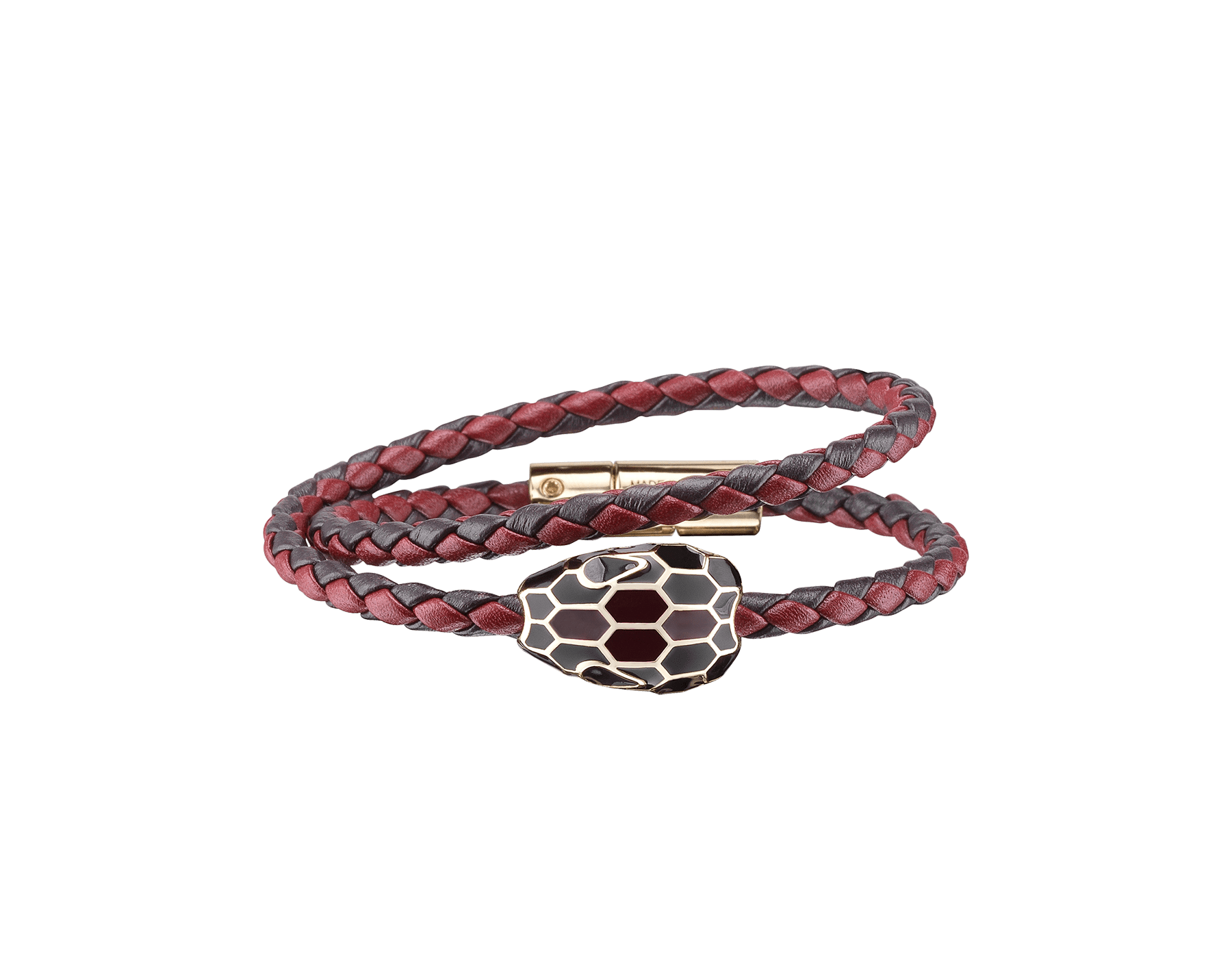 Serpenti Forevermulti-coiled braid bracelet in plum amethyst and roman garnet woven calf leather with an iconic snakehead décor in black and plum amethyst enamel. SerpDoubleBraid-WCL-PARG image 1