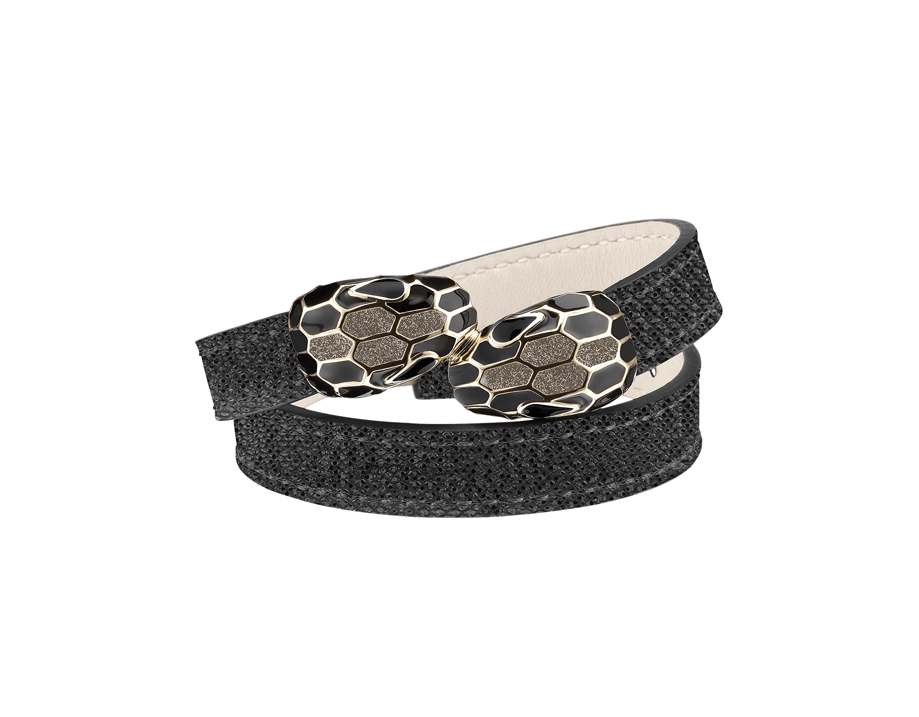 Multi-coiled bracelet in moon silver metallic karung skin. Brass light gold plated iconic contraire Serpenti heads in glitter silver and black enamel with black enamel eyes. MCSerp-MK-MS image 1