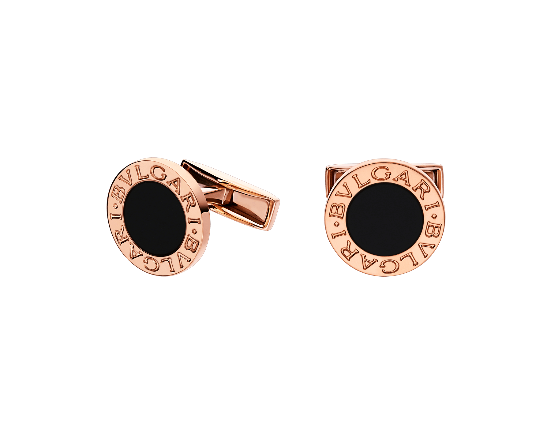 BVLGARI BVLGARI 18kt rose gold cufflinks set with black onyx elements 344429 image 1