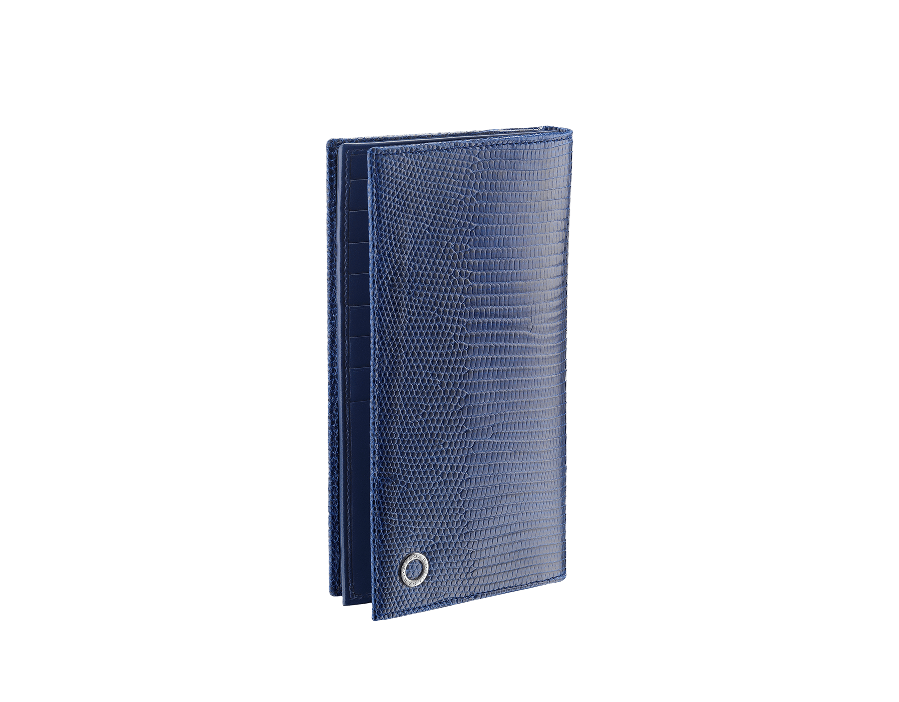 デニムサファイアのシャイニーリザードスキンとカーフレザー製の財布。ブラスパラジウムプレートの金具とアイコニックな「ブルガリ・ブルガリ」モチーフ。 284399 image 1