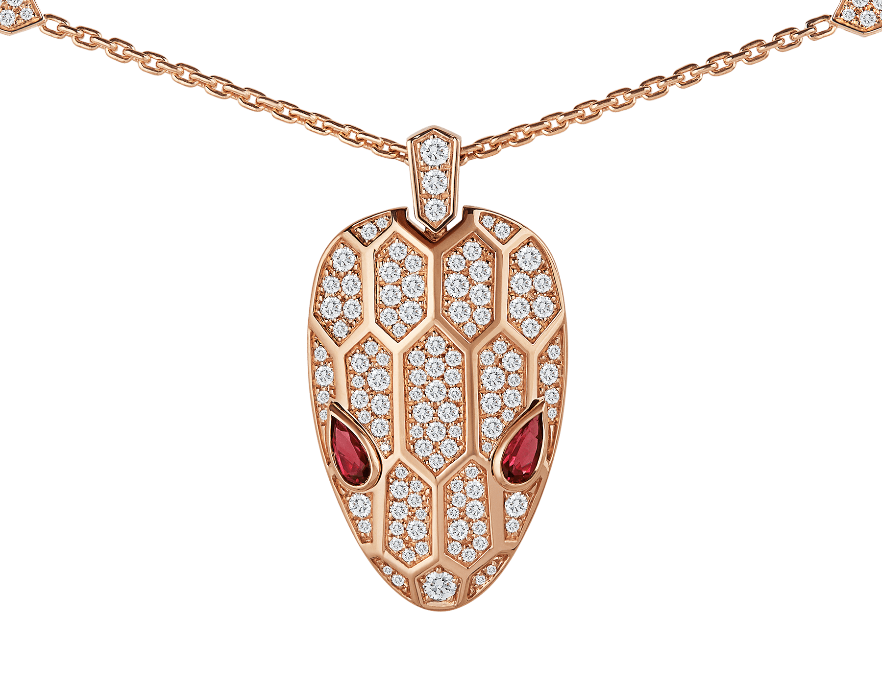 Serpenti necklace in 18 kt rose gold, set with rubellite eyes and with pavé diamonds on the chain and the head. 352725 image 3