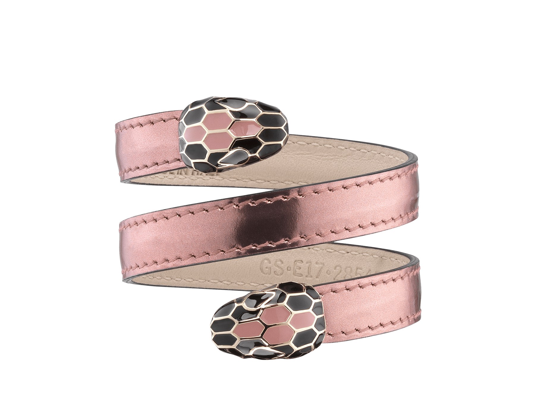 Multi-coiled rigid Cleopatra bracelet in rose quartz brushed metallic calf leather, with brass light gold plated hardware. Double tempting Serpenti head finished in rose quartz and black enamel, with eyes in black enamel. 285453 image 1