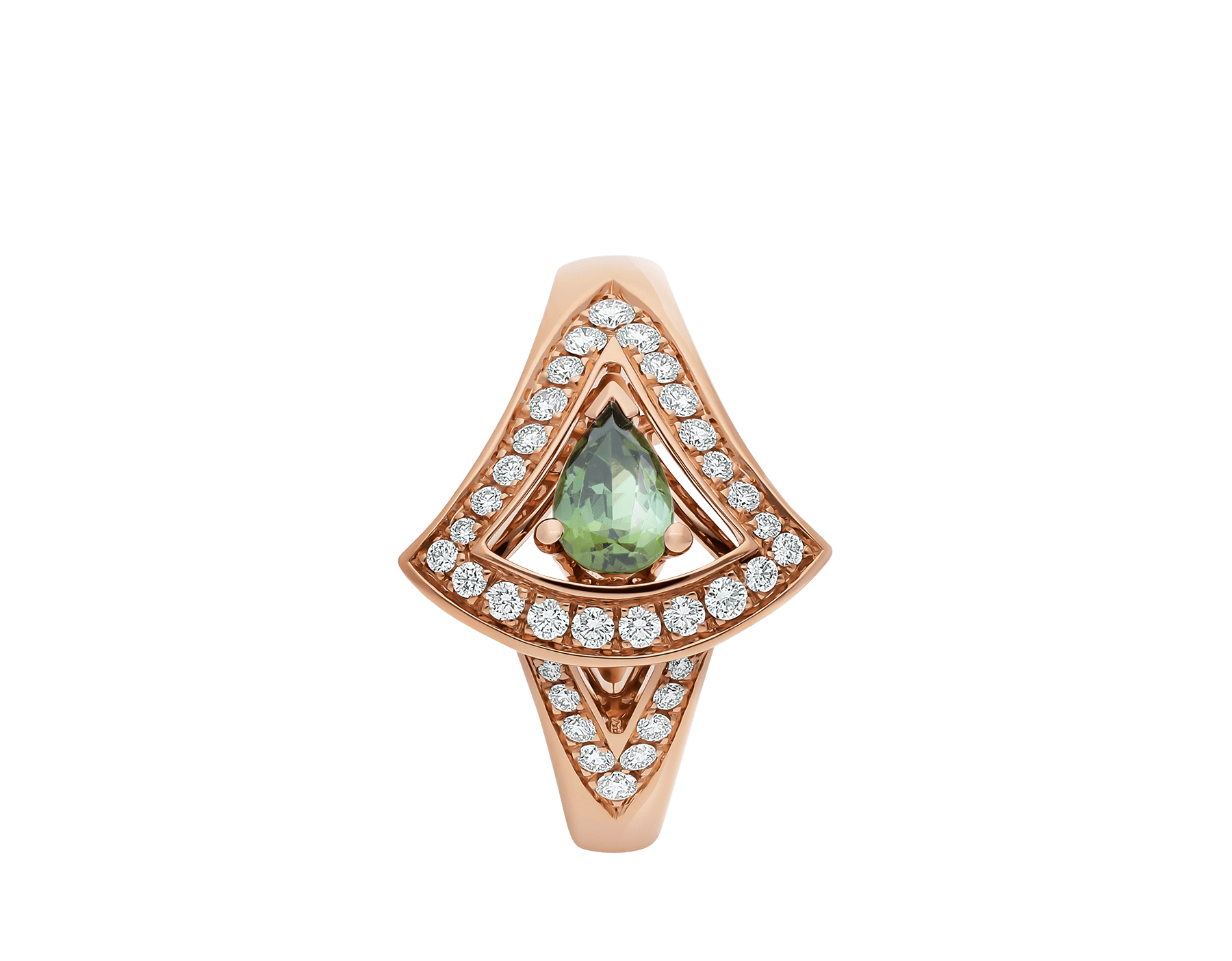 DIVAS' DREAM 18 kt rose gold ring set with a green tourmaline and pavé diamonds AN858508 image 2