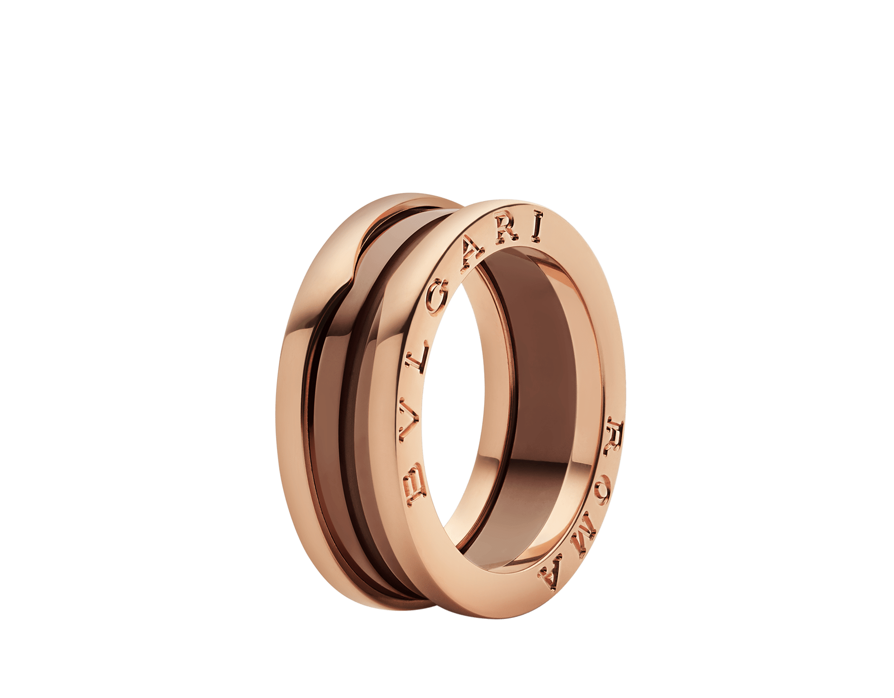 B.zero1 two-band ring in 18 kt rose gold and cermet. B-zero1-2-bands-AN857844 image 1