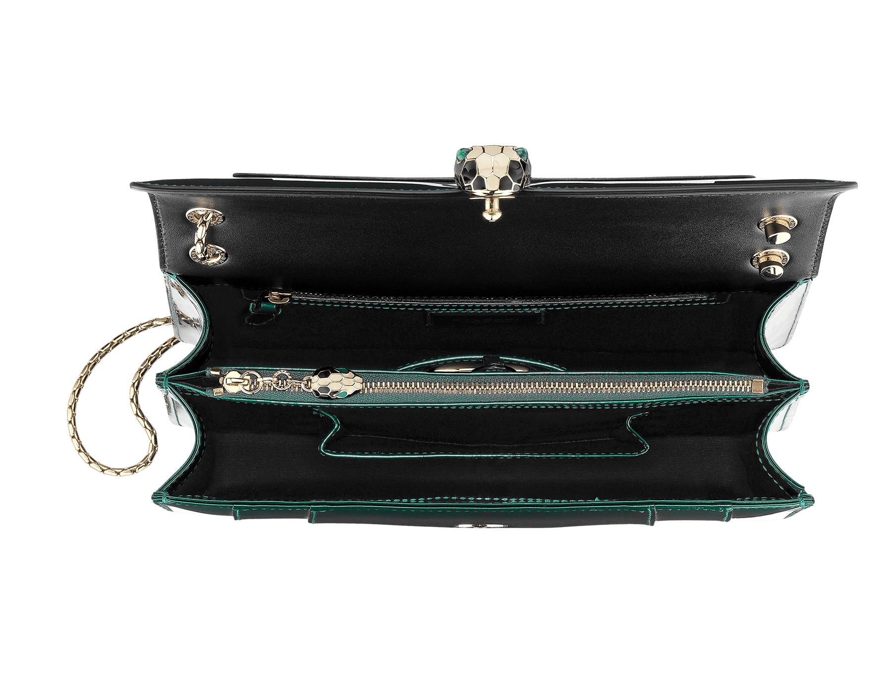 Flap cover bag Serpenti Forever in forest emerald brushed metallic calf leather. Brass light gold plated snake head closure in black and white enamel with eyes in green malachite. 283535 image 2